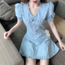 Dress Spring 2021 blue S, M Short skirt singleton  Short sleeve commute Doll Collar High waist Solid color Single breasted A-line skirt puff sleeve 18-24 years old Type A Korean version Ruffles, buttons two point two eight