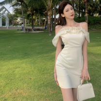 Dress Summer 2021 Picture color S, M Short skirt singleton  Short sleeve commute One word collar High waist Solid color One pace skirt 18-24 years old Type A Korean version Lotus leaf edge Four point one