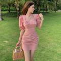 Dress Summer 2021 Green, pink S, M Short skirt singleton  Long sleeves commute High waist Socket A-line skirt puff sleeve 18-24 years old Type A Korean version Bow, tuck three point three one