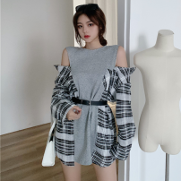 Sweater / sweater Spring 2021 Grey with belt Average size Long sleeves Medium length Socket singleton  routine Crew neck easy commute routine lattice 18-24 years old Korean version cotton Two point one