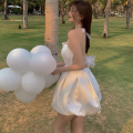 Dress Summer 2021 white S, M Short skirt singleton  Sleeveless commute High waist Solid color A-line skirt Hanging neck style 18-24 years old Type A Korean version backless Four point three