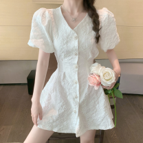 Dress Summer 2021 White, pink Average size Short skirt singleton  Short sleeve commute V-neck High waist Solid color A-line skirt puff sleeve 18-24 years old Type A Korean version Cut out, button Four point seven 71% (inclusive) - 80% (inclusive)