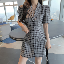 Dress Summer 2021 lattice S,M,L Short skirt singleton  Short sleeve commute tailored collar High waist lattice double-breasted A-line skirt routine Others 18-24 years old Type A Korean version Cut out, button three point three one 31% (inclusive) - 50% (inclusive) Chiffon