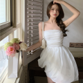 Dress Summer 2021 white S, M Short skirt singleton  Sleeveless commute High waist Solid color Socket A-line skirt 18-24 years old Type A Korean version Gauze four point one one