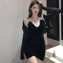 Dress Summer 2021 black S,M,L Short skirt singleton  Sleeveless commute High waist Solid color One pace skirt camisole 18-24 years old Type A Korean version Inlaid diamond, fold three point three one