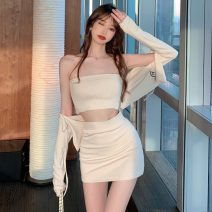 Fashion suit Spring 2021 Average size Apricot coat, apricot breast, apricot hip skirt, black coat, black breast, black hip skirt 18-25 years old seven point one two
