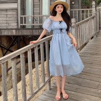 Dress Summer 2021 Picture color Average size Mid length dress singleton  Short sleeve commute One word collar High waist Dot A-line skirt routine 18-24 years old Type A Korean version Gauze Four point one