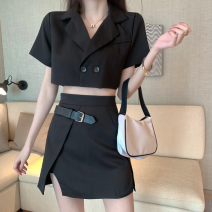 Fashion suit Summer 2021 S, M Suit top, black skirt 18-25 years old Four point three 96% and above polyester fiber