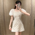 Dress Summer 2021 White, black S,M,L Short skirt singleton  Short sleeve commute square neck High waist Solid color Socket A-line skirt puff sleeve 18-24 years old Type A Korean version Bright silk, lace four point one five 91% (inclusive) - 95% (inclusive) Lace Cellulose acetate