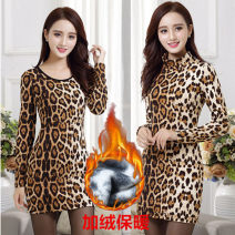 Women's large Winter 2020, spring 2021 Dress singleton  thickening Socket Long sleeves High collar Medium length Polyester, cotton, nylon printing and dyeing routine 25-29 years old 91% (inclusive) - 95% (inclusive) Medium length 351g / m ^ 2 (including) - 400g / m ^ 2 (including)