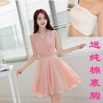 Dress Summer 2020 White, black, lotus root, light yellow, light green, light blue S,M,L,XL,2XL,3XL Mid length dress singleton  Sleeveless commute V-neck middle-waisted Solid color zipper Big swing Oblique shoulder 25-29 years old Type A Korean version Pleats, bandages, zippers More than 95% Chiffon