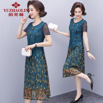 Middle aged and old women's wear Summer 2021 blue XL (recommended 90-110 kg) 2XL (recommended 110-125 kg) 3XL (recommended 125-135 kg) 4XL (recommended 135-150 kg) fashion Dress singleton  other 40-49 years old Crew neck other Yu Zhaolin polyester Polyester 100% 96% and above Medium length Polyester