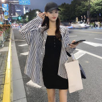 shirt Vest, dress, striped shirt S,M,L Summer 2020 other 96% and above Long sleeves commute Medium length stand collar stripe 18-24 years old Korean version 9112#