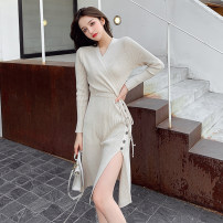 Dress Winter 2020 S,M,L,XL Mid length dress singleton  Long sleeves commute V-neck middle-waisted Solid color Socket other routine Others Type A Korean version knitting other