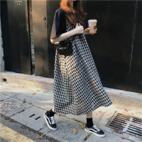 Dress Spring of 2019 Average size longuette singleton  Sleeveless commute Crew neck Loose waist lattice Socket Big swing routine camisole 18-24 years old Type H Other / other literature 30% and below other cotton