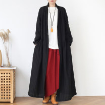 Windbreaker Autumn 2020 Average size Black, apricot Long sleeves routine have more cash than can be accounted for commute double-breasted tailored collar routine Solid color Straight cylinder literature Eucalyptus Mutu 96% and above hemp hemp