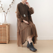 Dress Spring 2021 coffee Average size longuette singleton  Long sleeves commute Polo collar Loose waist Solid color Socket Big swing routine Others Type H Eucalyptus Mutu literature More than 95% knitting cotton