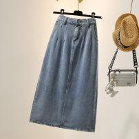 Women's large Spring 2021 blue M (100-110kg), l (110-120kg), XL (120-135kg), 2XL (135-150kg), 3XL (150-165kg), 4XL (165-175kg), 5XL (180-200kg) skirt singleton  commute easy moderate Solid color Korean version Denim Three dimensional cutting pocket longuette