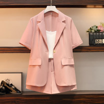 Women's large Spring 2021 Black three piece set, pink three piece set L size suggests 90-115 Jin, XL SIZE suggests 115-135 Jin, 2XL size suggests 135-155 Jin, 3XL size suggests 155-175 Jin, 4XL size suggests 175-200 Jin suit Three piece set commute Self cultivation moderate Cardigan Short sleeve Dot