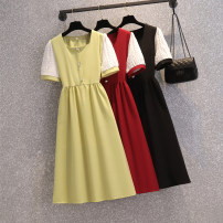 Women's large Summer 2021 Red, green, black Large XL, large XXL, large XXL, large XXXXL, large L, M Dress singleton  commute easy moderate Socket Short sleeve Solid color Korean version V-neck Medium length acrylic fibres Three dimensional cutting routine Three dimensional decoration Medium length