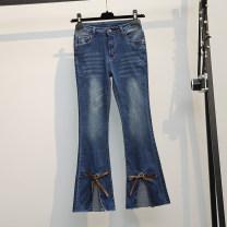Women's large Spring 2021 blue L (90-110 kg), XL (110-130 kg), 2XL (130-150 kg), 3XL (150-170 kg), 4XL (170-190 kg) Jeans singleton  commute easy moderate Solid color Korean version Denim 25-29 years old Three dimensional decoration Ninth pants