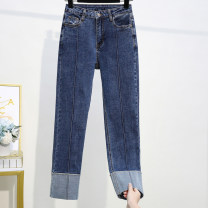 Women's large Spring 2020 navy blue XL (recommended 110-130 kg), 2XL (recommended 130-140 kg), 3XL (recommended 140-150 kg), 4XL (recommended 150-170 kg), 5XL (recommended 170-200 kg) Jeans singleton  commute Straight cylinder moderate Solid color Korean version Denim Three dimensional cutting pocket