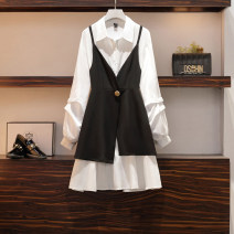 Women's large Autumn 2020 suit Big L, big XL, big M, big 2XL, big 3XL, big 4XL Dress Two piece set commute easy moderate Cardigan Solid color Korean version Polo collar Medium length Three dimensional cutting Pile sleeve 25-29 years old Three dimensional decoration Medium length other