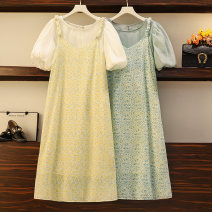 Women's large Summer 2021 Yellow two-piece set, green two-piece set M (recommended 80-100 kg), l (recommended 100-120 kg), XL (recommended 120-140 kg), 2XL (recommended 140-160 kg), 3XL (recommended 160-180 kg), 4XL (recommended 180-200 kg) Dress Two piece set commute easy moderate Socket lady other