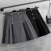 Women's large Spring 2021 Gray, black Large L, large XL, large 2XL, large 3XL, large 4XL skirt singleton  commute easy moderate Solid color Korean version polyester Three dimensional cutting Three dimensional decoration Short skirt Pleated skirt