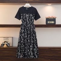 Women's large Spring 2021 Picture color Large L, large XL, large XXL, large XXL, large XXXXL, large M Dress singleton  commute easy moderate Socket Short sleeve Decor lady Crew neck Three dimensional cutting routine Three dimensional decoration Medium length other