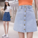 skirt Spring 2021 S,M,L,XL,2XL,3XL Light blue, dark blue Short skirt Retro High waist A-line skirt Solid color Type A 18-24 years old Denim cotton
