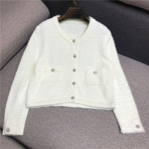 Wool knitwear Winter of 2019 S,M,L White, blue, pink Long sleeves singleton  Cardigan other 31% (inclusive) - 50% (inclusive) Regular routine commute easy Low crew neck routine Solid color Single breasted Korean version N/A 18-24 years old Jane Liang Diamond inlay, button