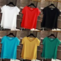 Lace / Chiffon Spring 2021 M,L,XL,2XL,3XL,4XL,5XL,6XL Short sleeve commute Socket singleton  easy Regular V-neck Solid color Korean version 91% (inclusive) - 95% (inclusive) polyester fiber