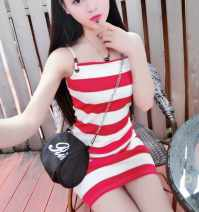 Dress Summer of 2018 Red, black S,M,L Short skirt singleton  commute One word collar middle-waisted stripe Socket other camisole 18-24 years old Other / other