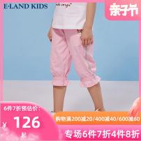 trousers E·LAND KIDS female 110cm 120cm 130cm 140cm 150cm 160cm 165cm Pink / 25 Navy / 59 summer Pant leisure time There are models in the real shooting Casual pants Leather belt middle-waisted Don't open the crotch Cotton 100% EKTMB6422A Spring 2021