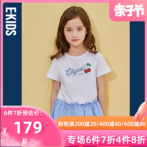 T-shirt Ivory / 39 E·LAND KIDS 110cm 120cm 130cm 140cm 150cm 160cm 165cm female summer Short sleeve Crew neck lady There are models in the real shooting nothing other Cartoon animation Cotton 100% EKRAB6622B