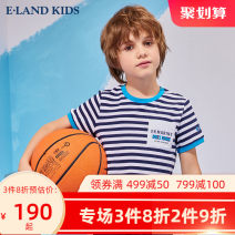 T-shirt Red / 20 Navy / 59 E·LAND KIDS 110cm 120cm 130cm 140cm 150cm 160cm 170cm male summer Short sleeve Crew neck leisure time There are models in the real shooting nothing Cotton blended fabric stripe Other 100% EKRAB6502R