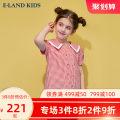 shirt Coral red E·LAND KIDS female 110cm 120cm 130cm 140cm 150cm 160cm 165cm summer Short sleeve fresh lattice cotton Cotton 100% EKBAB6523R
