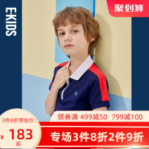 T-shirt E·LAND KIDS 110cm 120cm 130cm 140cm 150cm 160cm 170cm male summer Short sleeve Lapel and pointed collar leisure time There are models in the real shooting Cotton blended fabric other Cotton 96.5% polyurethane elastic fiber (spandex) 3.5% Spring 2021
