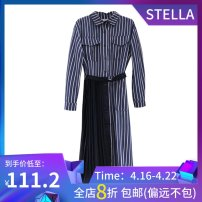 Dress Winter 2020 Black, blue Average size longuette singleton  Long sleeves commute Polo collar Loose waist other Single breasted Ruffle Skirt routine 25-29 years old Type A stella marina collezione Korean version