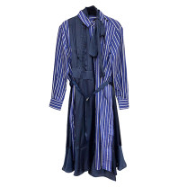 Dress Autumn 2020 blue Average size Mid length dress singleton  Long sleeves commute Polo collar Loose waist stripe Single breasted Ruffle Skirt routine 25-29 years old Type A stella marina collezione Korean version