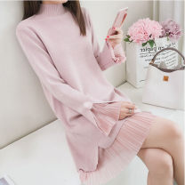 Wool knitwear Autumn 2020 S,M,L,XL Long sleeves Fake two pieces Socket other 31% (inclusive) - 50% (inclusive) Medium length routine commute easy Half height crew neck routine Solid color lady Stitching, lace