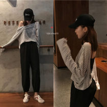 Fashion suit Summer of 2018 Average size Striped T-shirt black pants 18-25 years old Other / other 96% and above