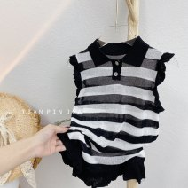 Vest sling Black and white stripes Sleeveless 80,90,100,110,120,130 summer other female Korean version stripe Crew neck other Other 100% Class A 7 years old, 3 years old, 6 years old, 18 months old, 2 years old, 5 years old, 4 years old Chinese Mainland