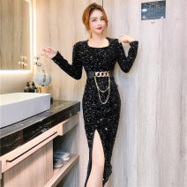 Dress Spring 2021 Black, blue, silver S,M,L,XL Mid length dress Long sleeves commute square neck High waist One pace skirt Sequins