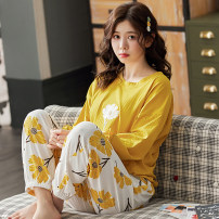 Pajamas / housewear set female Romantic and charming cotton Long sleeves Sweet Leisure home autumn routine Crew neck letter trousers Socket youth 2 pieces rubber string More than 95% pure cotton printing 200g