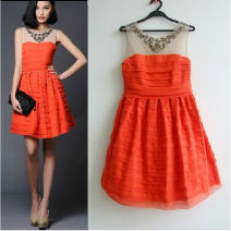 Dress Summer 2021 Orange, black XS,S,M,L,XL Middle-skirt singleton  Sleeveless street Crew neck middle-waisted stripe Socket Princess Dress Others 25-29 years old Type A 81% (inclusive) - 90% (inclusive) Chiffon other Europe and America