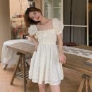 Dress Summer 2020 White, light yellow Average size Middle-skirt singleton  Short sleeve commute square neck High waist Solid color puff sleeve 18-24 years old Korean version 51% (inclusive) - 70% (inclusive)