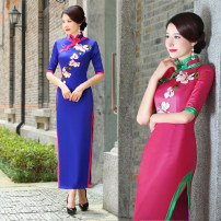cheongsam Fall 2017 Rose red, sapphire blue three quarter sleeve long cheongsam grace High slit perform Round lapel Over 35 years old Piping