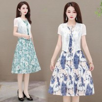 Dress Summer 2021 Green, blue L,XL,2XL,3XL,4XL,5XL Mid length dress Two piece set Short sleeve commute Crew neck middle-waisted Decor Socket A-line skirt routine 40-49 years old Type A Korean version 31% (inclusive) - 50% (inclusive) Chiffon Cellulose acetate